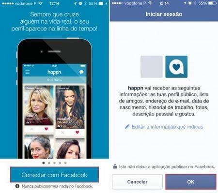 como conectar facebook no happn